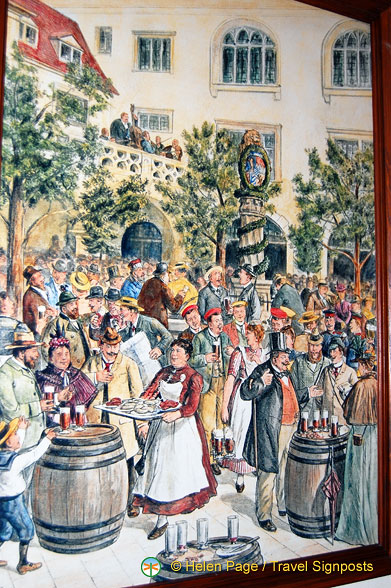 The Hofbräuhaus Beer Garden in earlier times