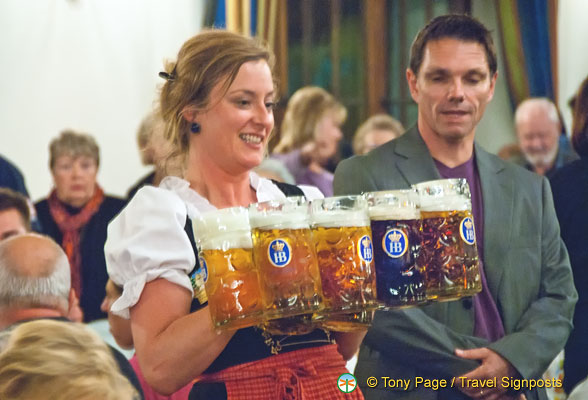 Getting a shot of the waitresses was unusually difficult.  They were kept busy delivering much needed beer.