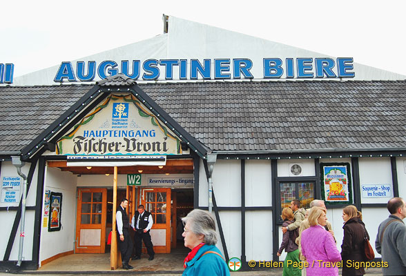 Augustiner beer on tap at Fischer-Vroni Oktoberfest tent.