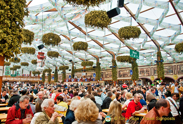 The Hofbräu tent accommodates 9,992 visitors