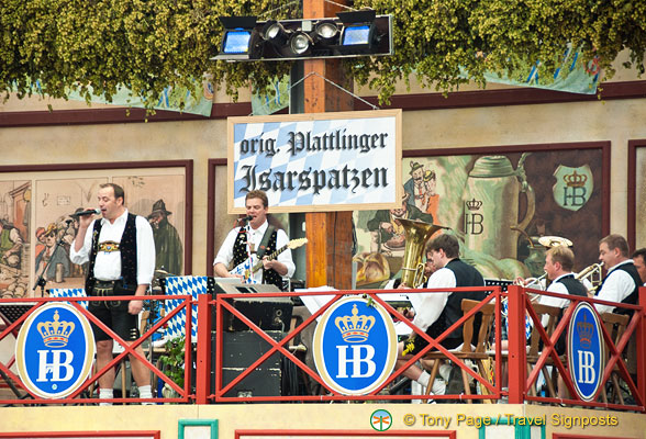 The bands plays oompah Oktoberfest music