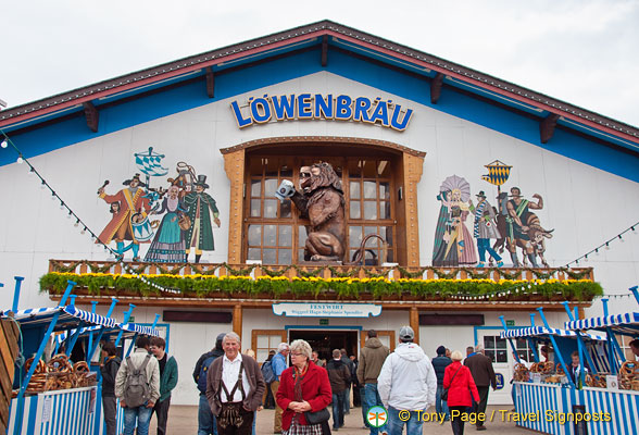 Lowenbrau tent with its roaring lion