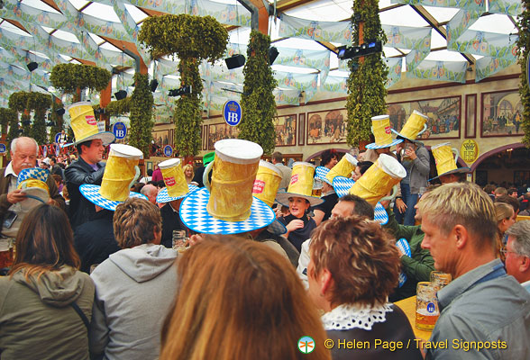 Stein hats at the Hofbrau beer tent