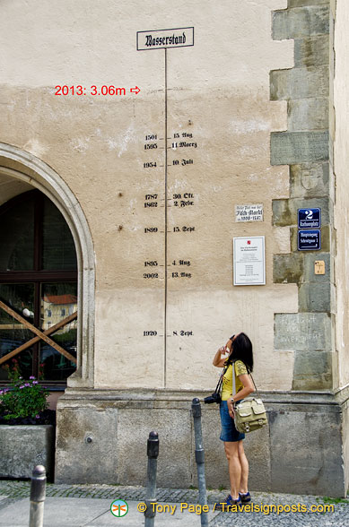 A historical record of flood levels in Passau, with 2013 being the worst in 500 years