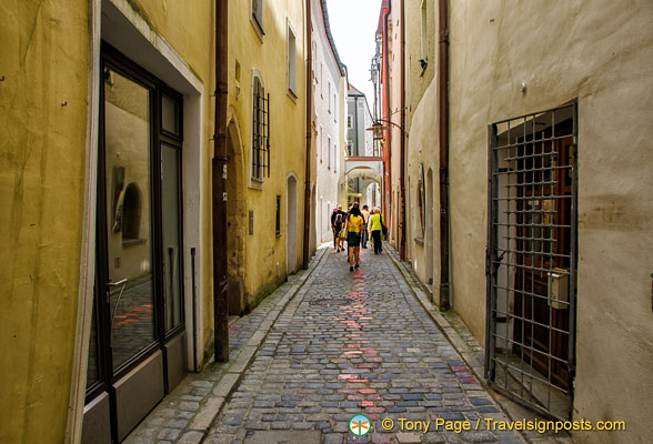 Painted cobblestones in Passau streets