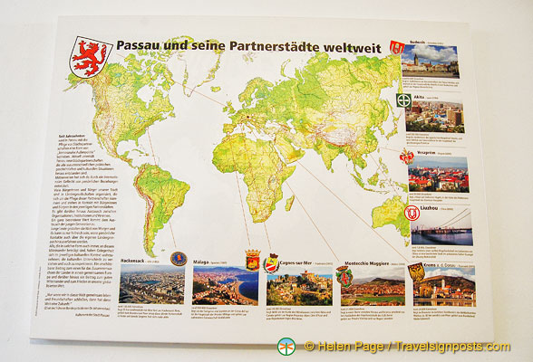 Map of Passau's partner cities