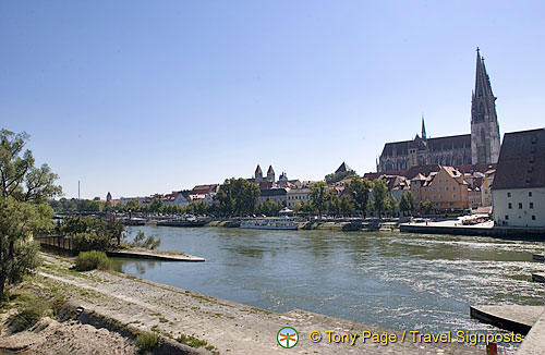 View of the Regensburg Old Town from across the Danube River