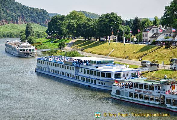 Our boat the River Princess (furthest from camera) in Trier