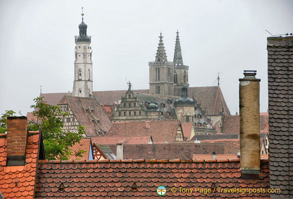 View of St Jakobskirche twin spires and the white town hall tower