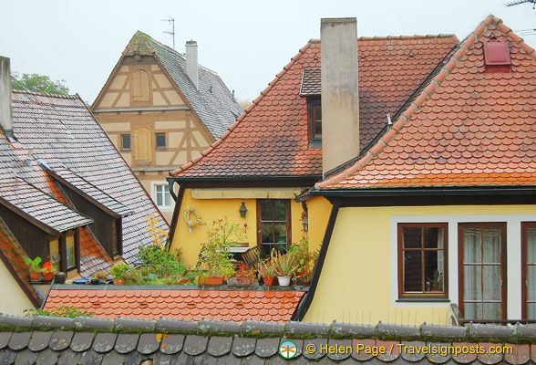 View of different house roofs from the Rothenburg wall