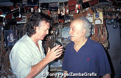 Tony and Stavros Melissinos the philosopher & poet in his sandal shop, Plaka