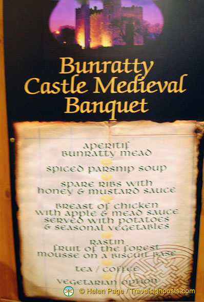 Bunratty castle menu