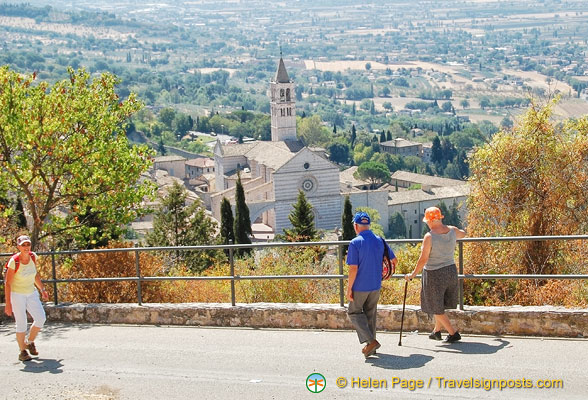 Many elderly people make the pilgrimage up to Rocca Maggiore