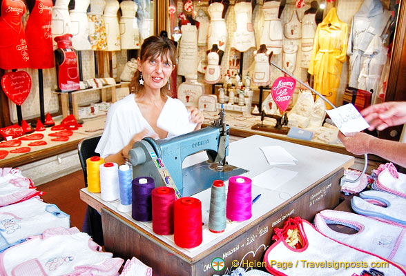 This lady will machine any names or messages on the linen