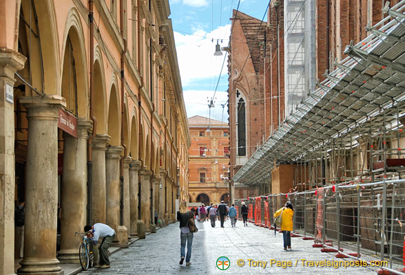 Via dell'Archiginnasio in Central Bologna