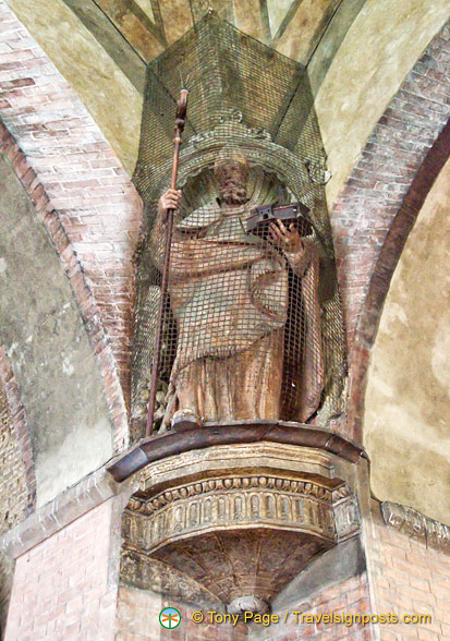 Statue of St Petronio, patron saint of Bologna