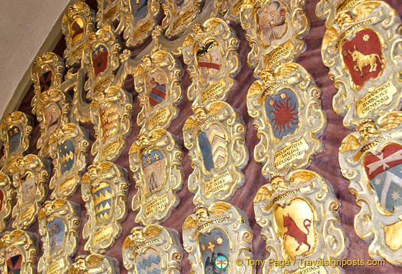 There are some seven thousand coats of arms on the walls