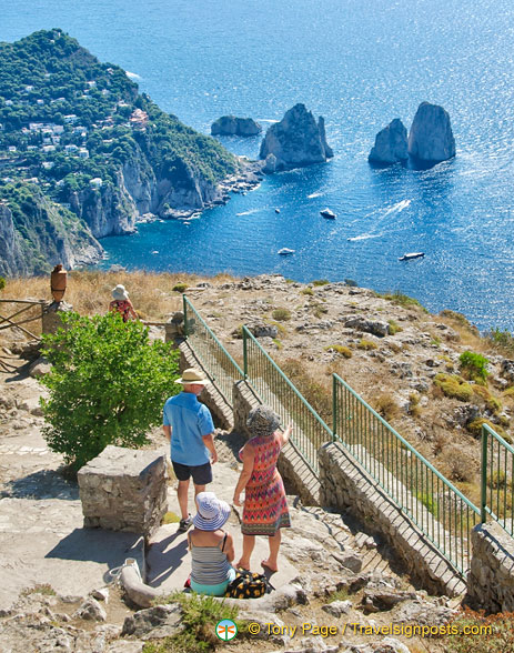 View towards Capri and the Faraglioni Rocks