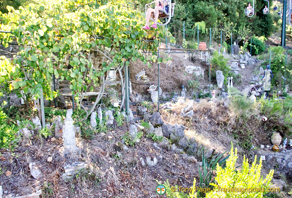 An unusual pottery garden below