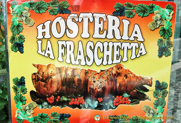 Ad for porchetta at Hosteria La Fraschetta