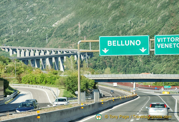 Passing Belluno on the road to Cortina d'Ampezzo