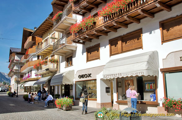 Shops along Via Corso Italia the main street of Cortina d'Ampezzo