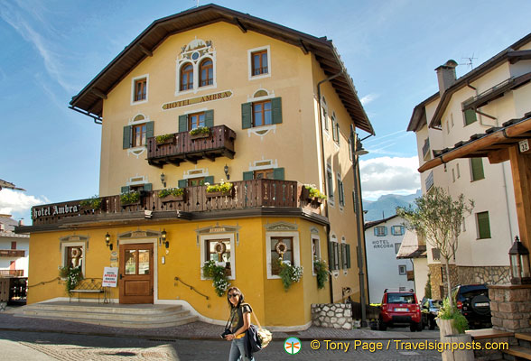 Hotel Ambra Cortina near the bell tower
