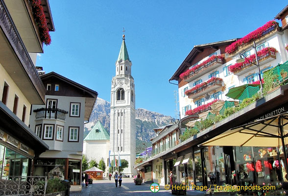 Cortina d'Ampezzo town centre with its 69.5 metre bell tower
