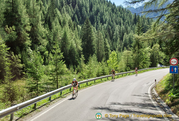 Passo Giao is very popular with cyclists