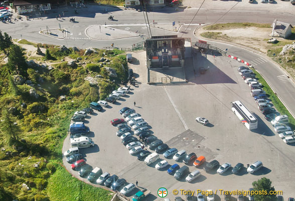 The Lagazuoi cable car base station and car park