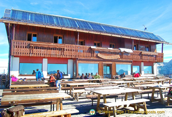 The huge terrace of the Rifugio Lagazuoi