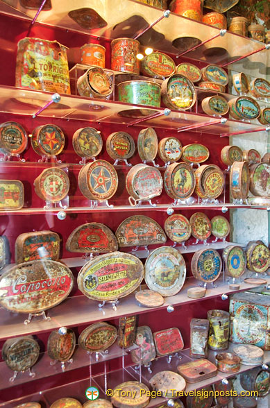 Colourful and interesting tins and cannisters