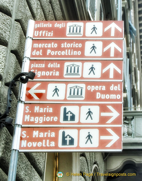 Signpost to Florence tourist attractions