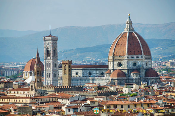 View of the famous Duomo dome and campanile