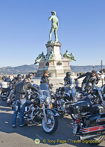 A bikies gathering around the Statue of David