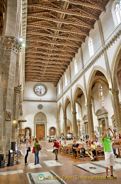 Interior of Basilica of Santa Croce with its interesting ceiling