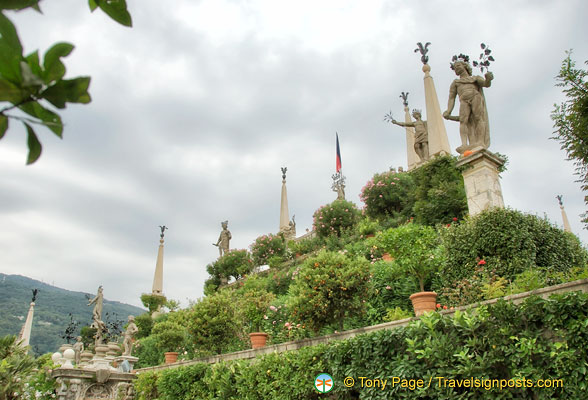 View of Isola Bella garden statues