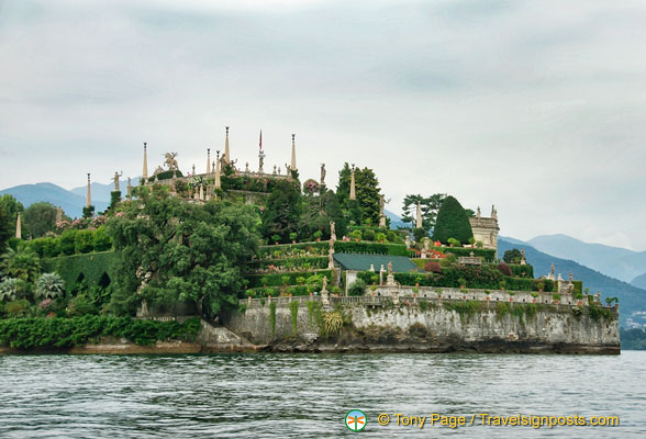 View of Isola Bella gardens from the water