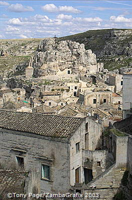 The town of Matera is perched on the edge of a deep ravine