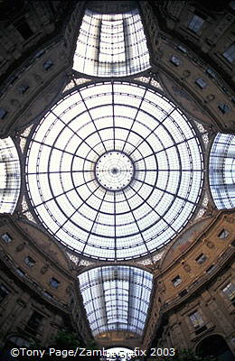 Glass ceiling and dome covering the Galleria Vittorio Emanuele II