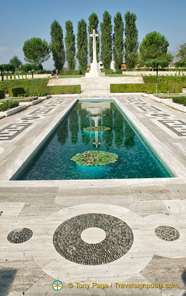 The beautiful water feature of the Cassino Memorial