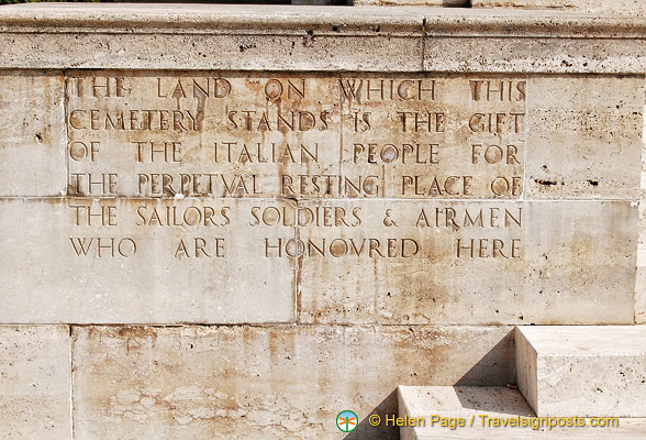 The land for the Cassino War Cemetery is a gift from the Italian Government