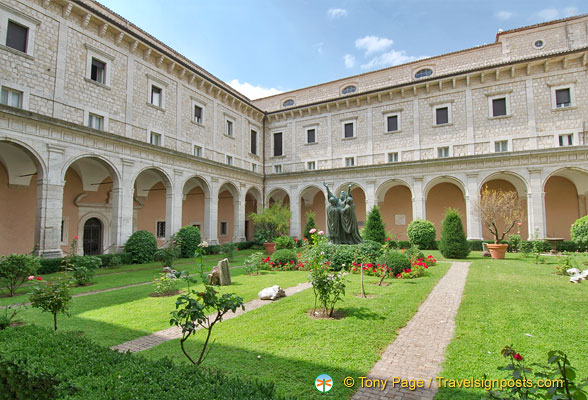 First cloister with the statue of St Benedict