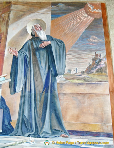 St Benedict has a vision of his sister's soul, in the form of a dove departing for heaven