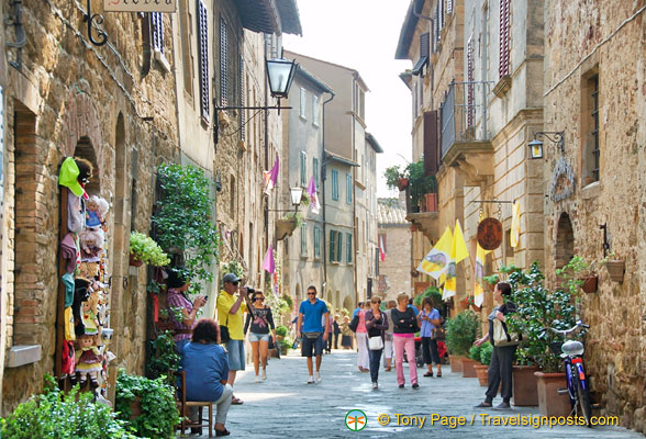 Corso Rossellino is full of cheese and wine shops