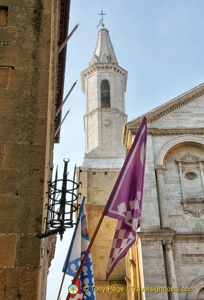 View of the tower of the Pienza duomo