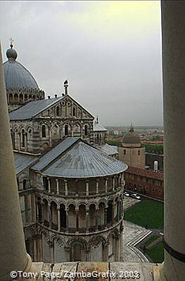 View of Pisa Cathedral and the Baptistry