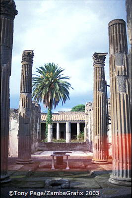 Buildings and columns that survived the eruption