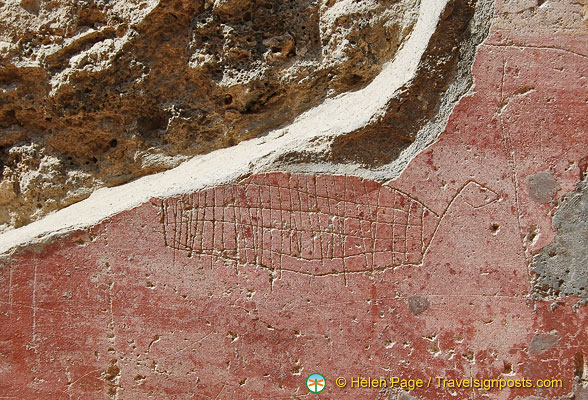 Ancient Pompeii graffiti showing a ship