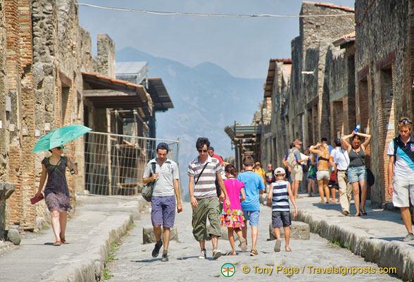 Pompeii street with Vesuvius in the background
